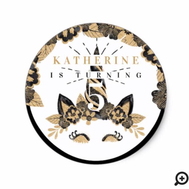 Chic Black & Gold Floral Unicorn Horse Birthday Classic Round Sticker