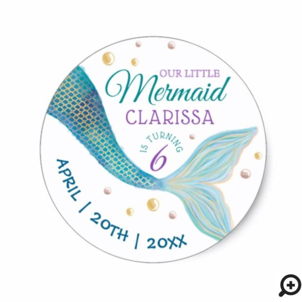 Under The Sea Little Mermaid Tail Birthday Party Classic Round Sticker