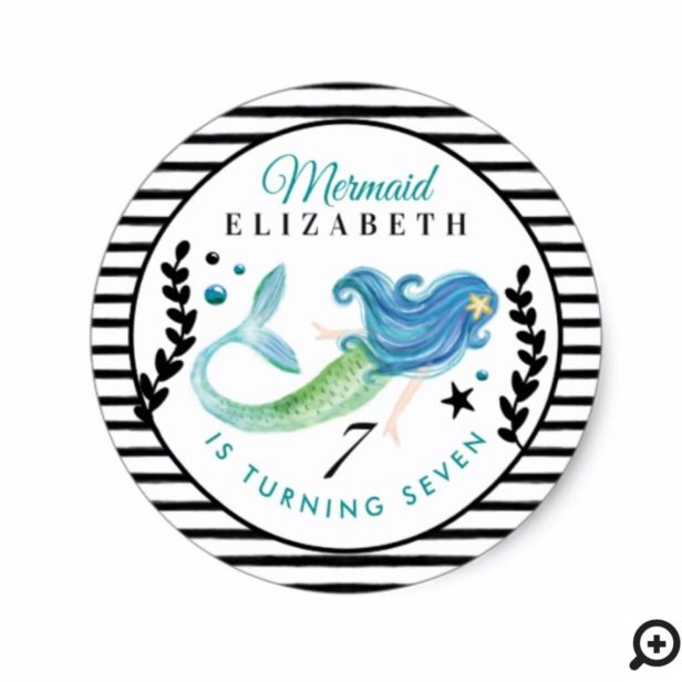 Black Stripes Mermaid Birthday Swimming Pool Party Classic Round Sticker