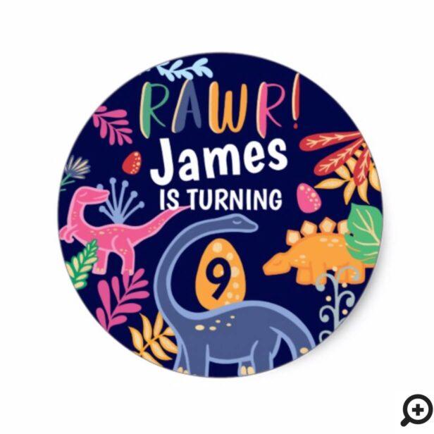 Fun, Bold & Colourful Dinosaur Jungle Leaves Classic Round Sticker
