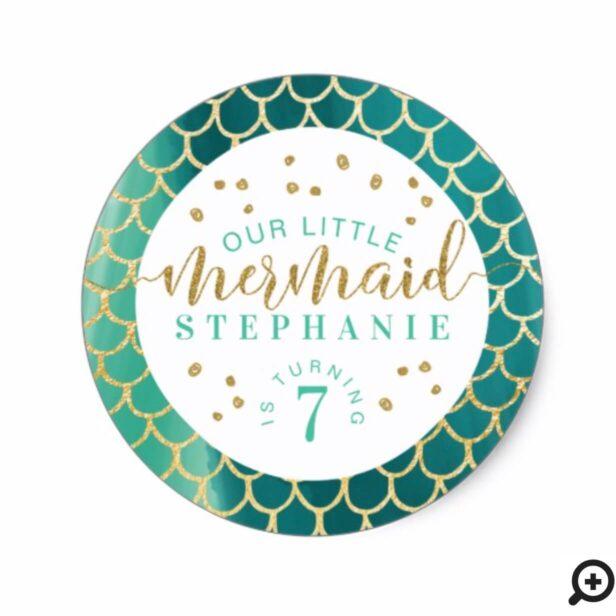 Chic Aqua & Gold Scale Little Mermaid Birthday Classic Round Sticker