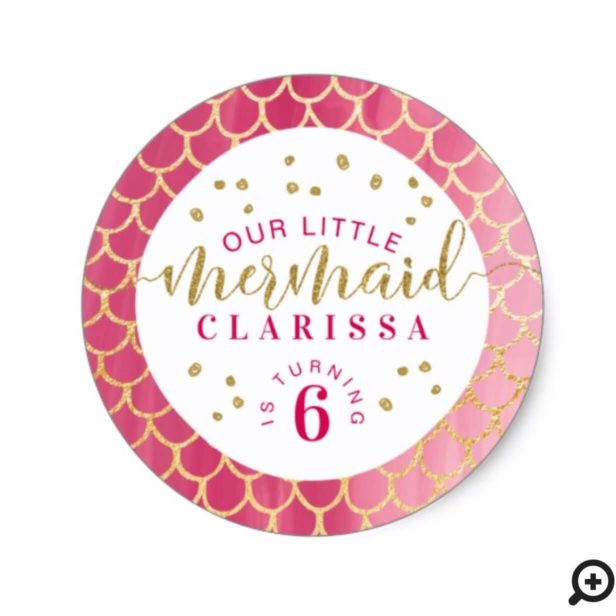 Chic Pink & Gold Scale Little Mermaid Birthday Classic Round Sticker