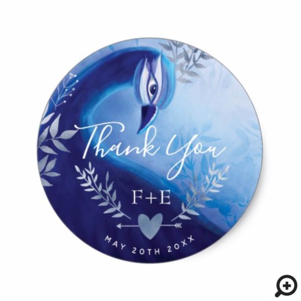 Indigo Silver Peacock Thank You Monogram Sticker