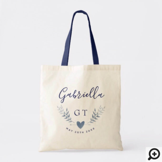 Personalized Wedding Tote - Silver Floral Heart