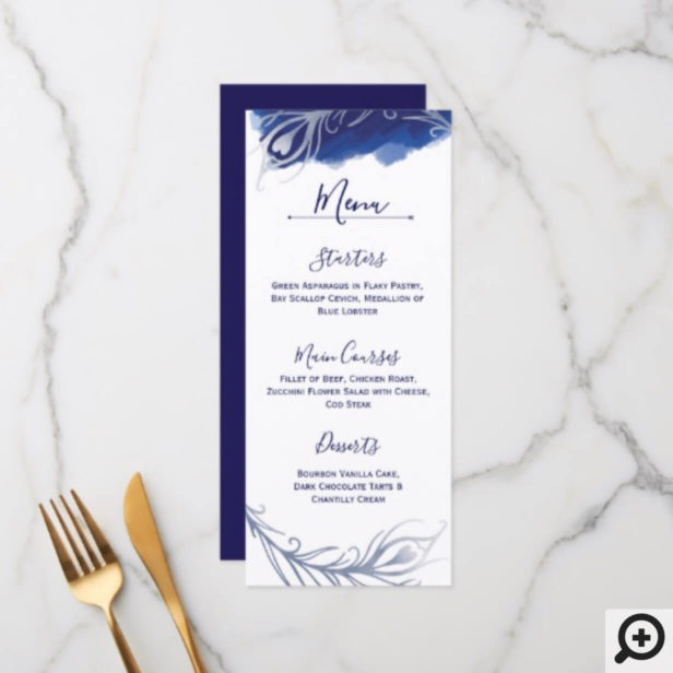 Indigo Silver Peacock Floral Wedding Menu Card