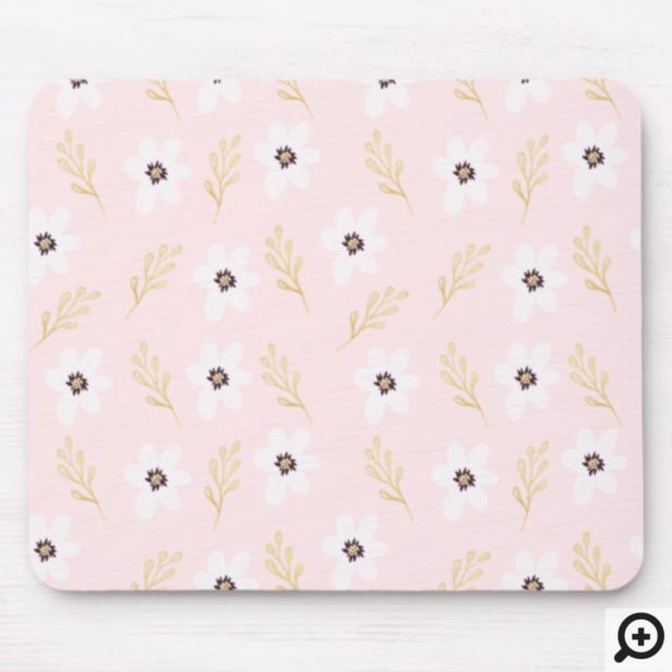 Modern Girly White Floral & Gold Leaf Pattern Mouse Pad