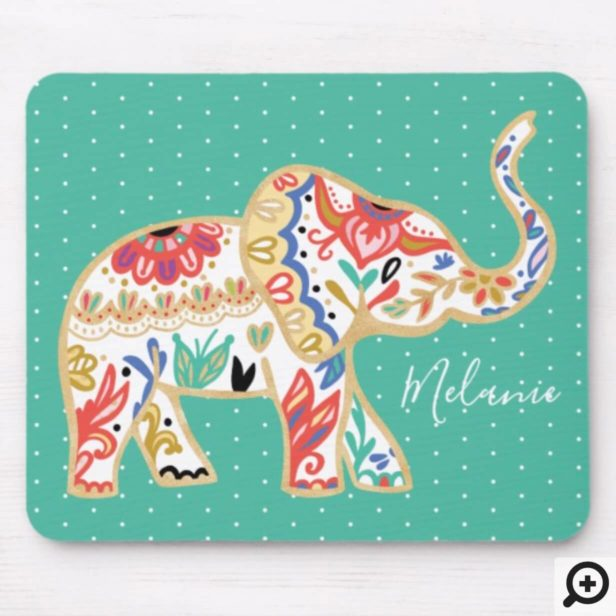 Elegant Floral Decorative Ornate Elephant Pattern Mouse Pad