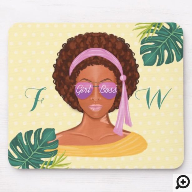 African American Beach Beauty Retro Tropical Mouse Pad