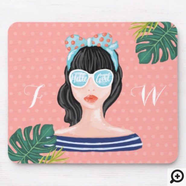 Hello Girl | Beach Beauty Retro Tropical Leaves Mouse Pad