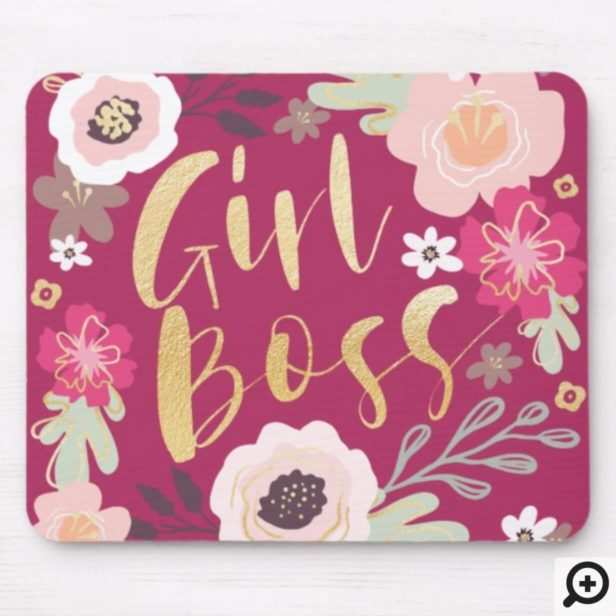 Girl Boss Trendy Vintage Floral Pattern Mouse Pad
