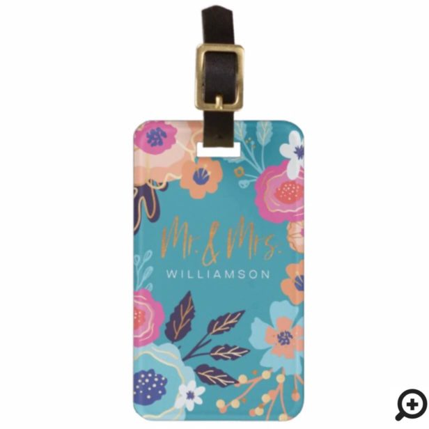 Mr & Mrs Trendy Teal Vintage Floral Pattern Bag Tag