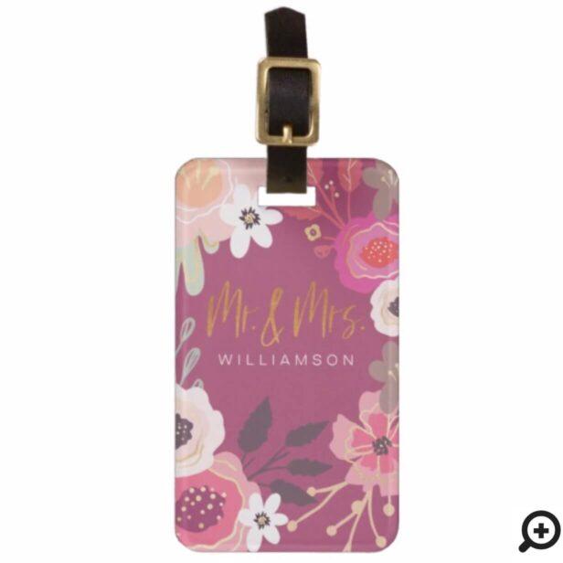 Mr & Mrs Trendy Pink Vintage Floral Pattern Bag Tag