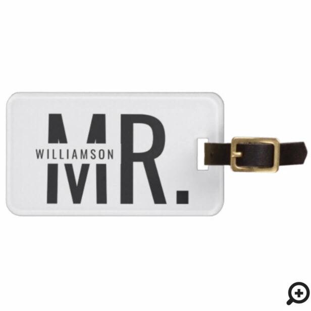 Mr. | Trendy Minimalistic Black & White Stripe Bag Tag
