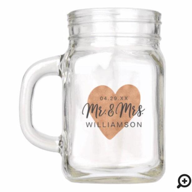 Mr & Mrs Wedding Cheers | Chic Copper Heart Love Mason Jar