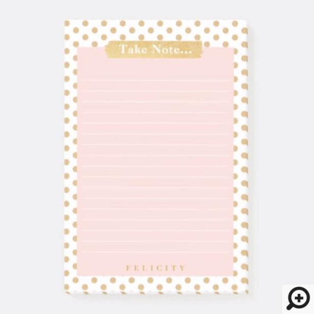 Stylish Chic Blush Pink & Gold Polka Dot Lined Post-it Notes