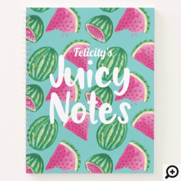 Juicy Notes | Watercolor Watermelon Fruit Pattern Notebook