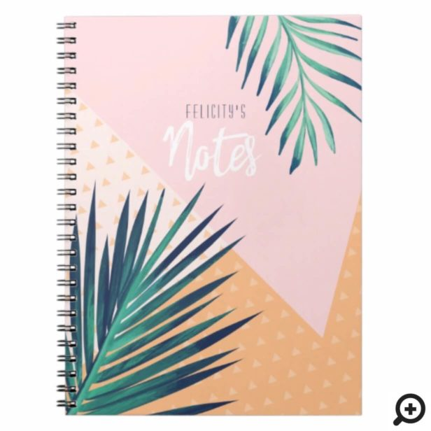 Modern Geometric & Tropical Palm Foliage Notebook