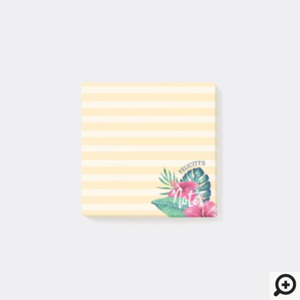 Tropical Foliage Pink Florals & Stripe Post-it Notes