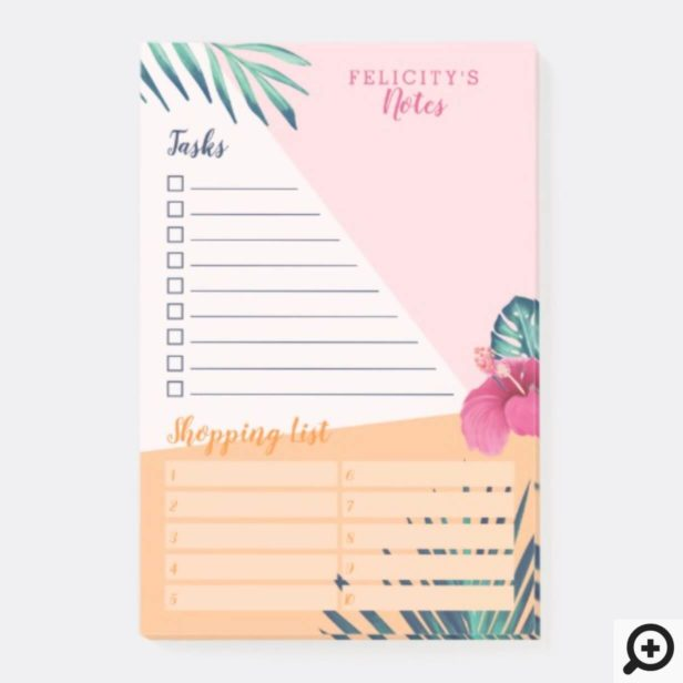 Chic Tropical Oasis Palm & Floral Daily Organizer Post-it Notes