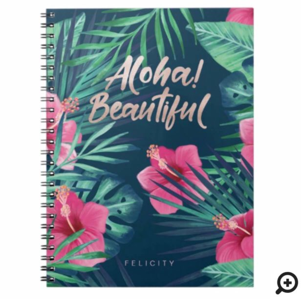 Tropical Watercolor Palm Foliage & Pink Hibiscus Notebook