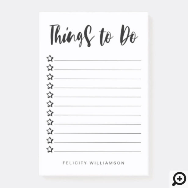 Personalized Black & White Stars Things To Do List Post-it Notes