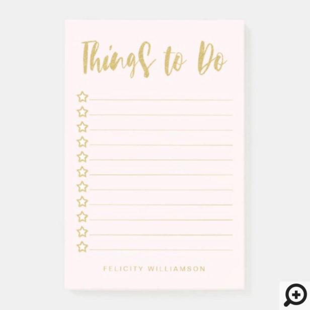 Personalized Gold & Blush Pink Things To Do List Post-it Notes