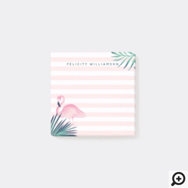 Tropical Palm Pink Flamingo Pink & White Stripe Post-it Notes