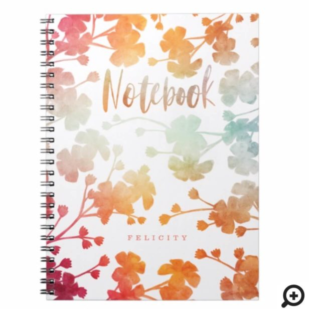 Peach, Pink & Mint Watercolor Cherry Blossom Print Notebook