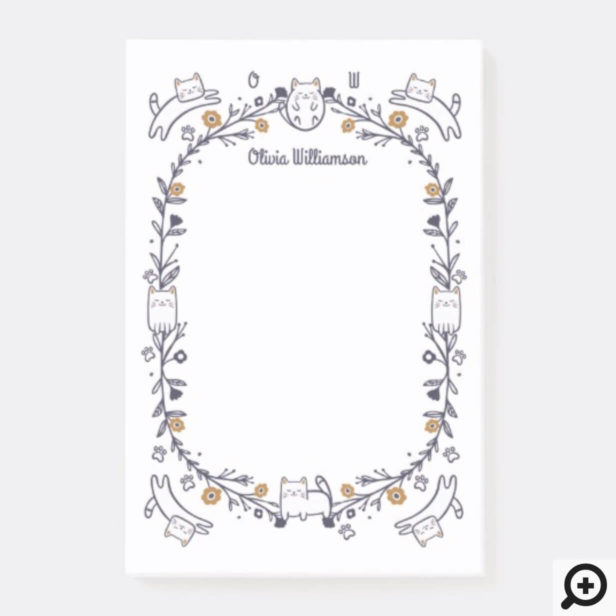 Floral & Foliage Sweet Little kitty Kittens Frame Post-it Notes