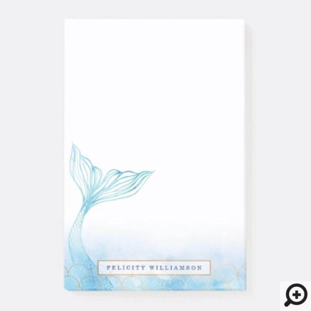 Elegant Oceanic Mermaid Watercolor & Gold Accent Post-it Notes