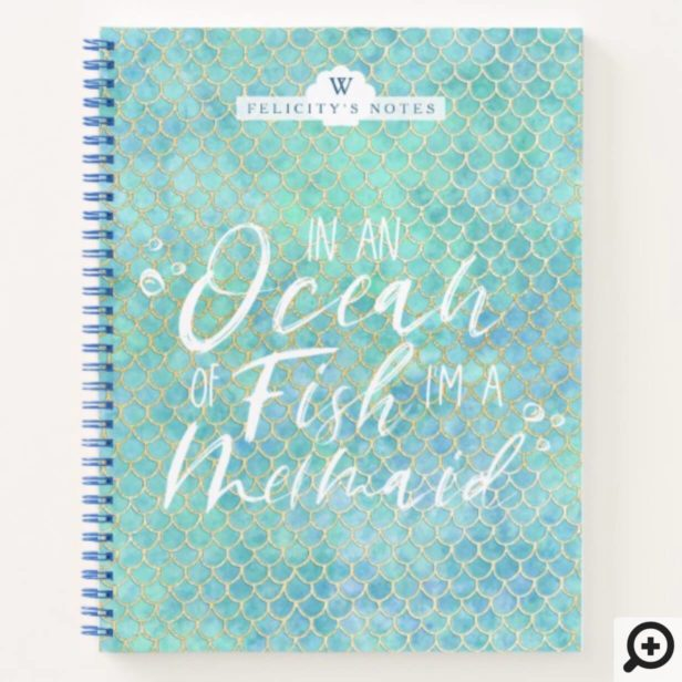 I'm a Mermaid | Aqua & Gold Mermaid Scale Pattern Notebook