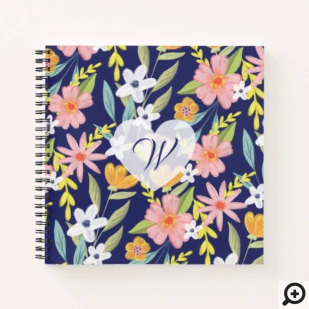 Chic Topical Vibes Jungle Botanica Floral Pattern Notebook