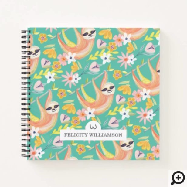 Chic Topical Vibes Jungle Sloth & Floral Pattern Notebook