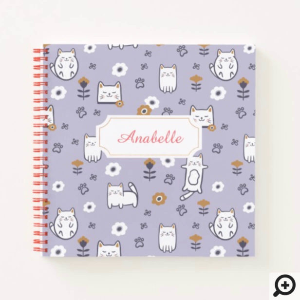 Floral Foliage Sweet Little kitty Kittens Pattern Notebook