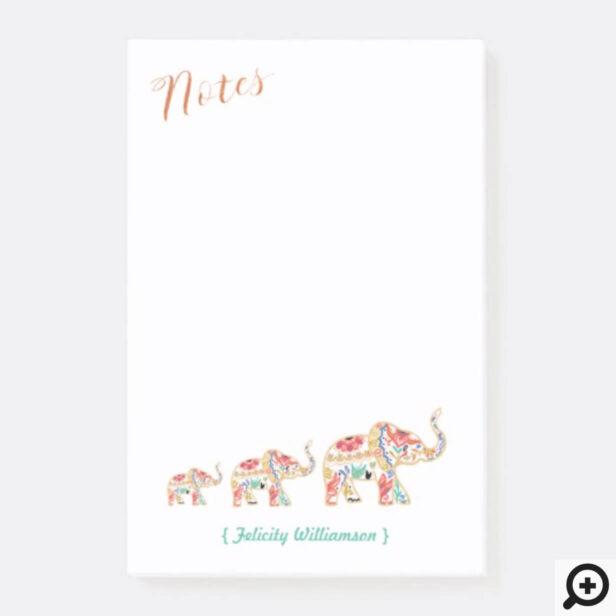 Elegant Floral Decorative Ornate Elephant Pattern Post-it Notes