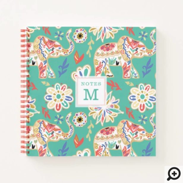 Elegant Floral Decorative Ornate Elephant Pattern Notebook