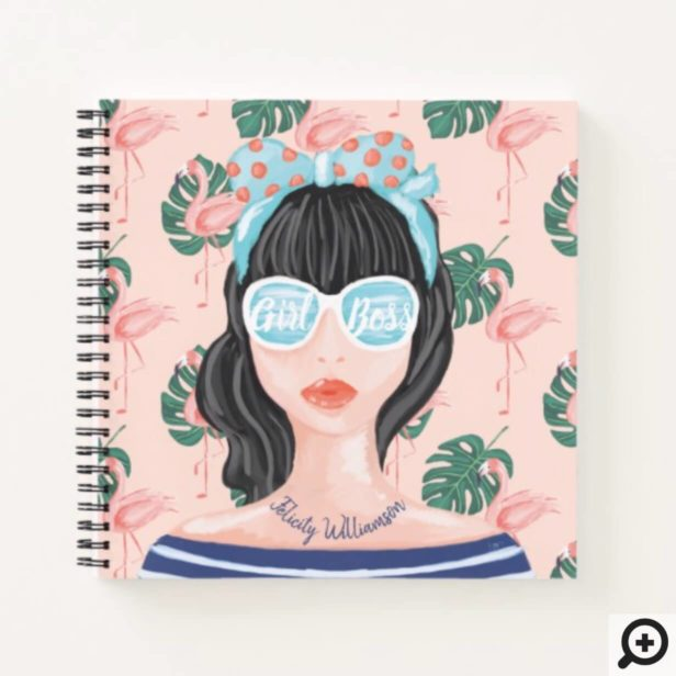 Girl Boss | Beach Beauty Retro Tropical Flamingo Notebook