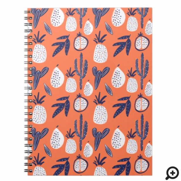 Bold Cactus, Pomegranate & Pineapple Fruit Pattern Notebook