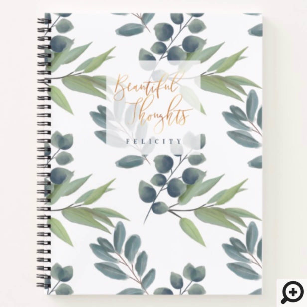 Beautiful Thoughts | Sage Green Foliage Monogram Notebook