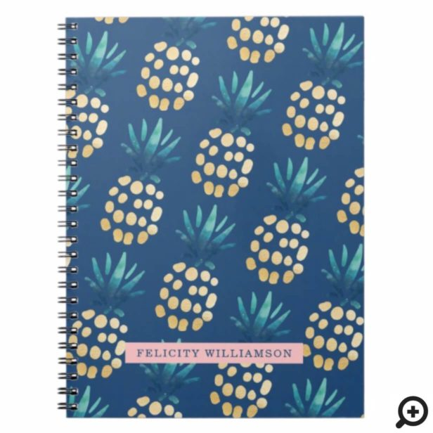 Blue, Teal & Gold Tropical Pineapple Fruit Pattern Notebook