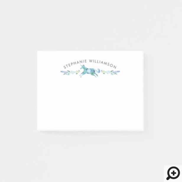 Beautiful Chic Blue Floral Whimsical Unicorn Horse Post-it Notes