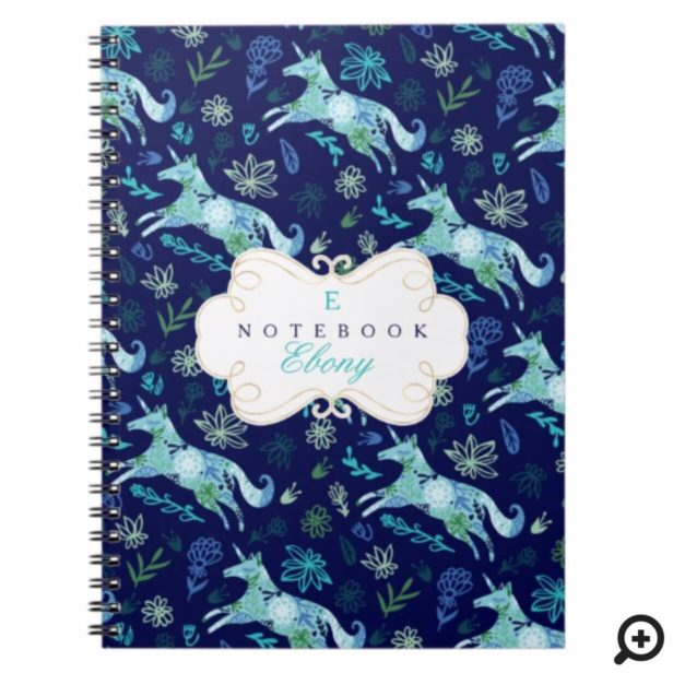 Magical Whimsical Blue Floral Unicorn Monogram Notebook