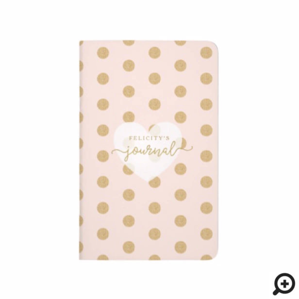 Chic Blush Pink & Gold Polka Dot Heart Monogram Journal