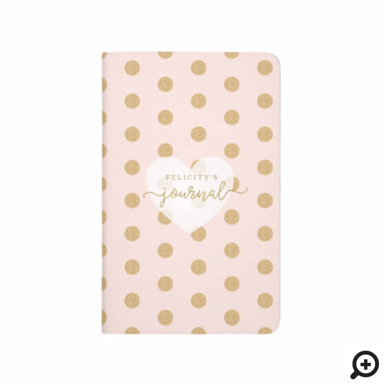 Chic Blush Pink & Gold Polka Dot Heart Monogram Journal