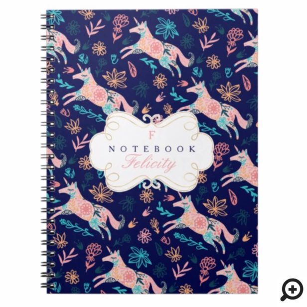 Magical Whimsical Pink Floral Unicorn Monogram Notebook
