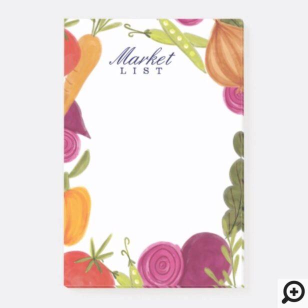 Watercolor Vegetable Farmers Market Illustration Post-it Notes