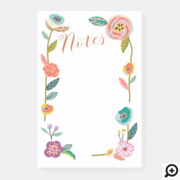 Vibrant Abstract Floral & Foliage Botanical Wreath Post-it Notes