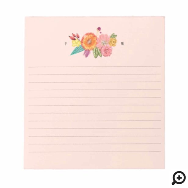Wildflower Watercolor Floral bouquet Initials Notepad