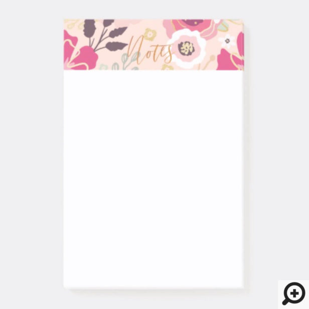 Trendy Girly Vintage Floral Pattern Post-it Notes