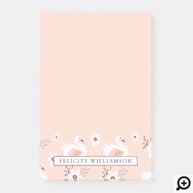 Pretty In Pink Swan & Floral Pattern Post-it Notes